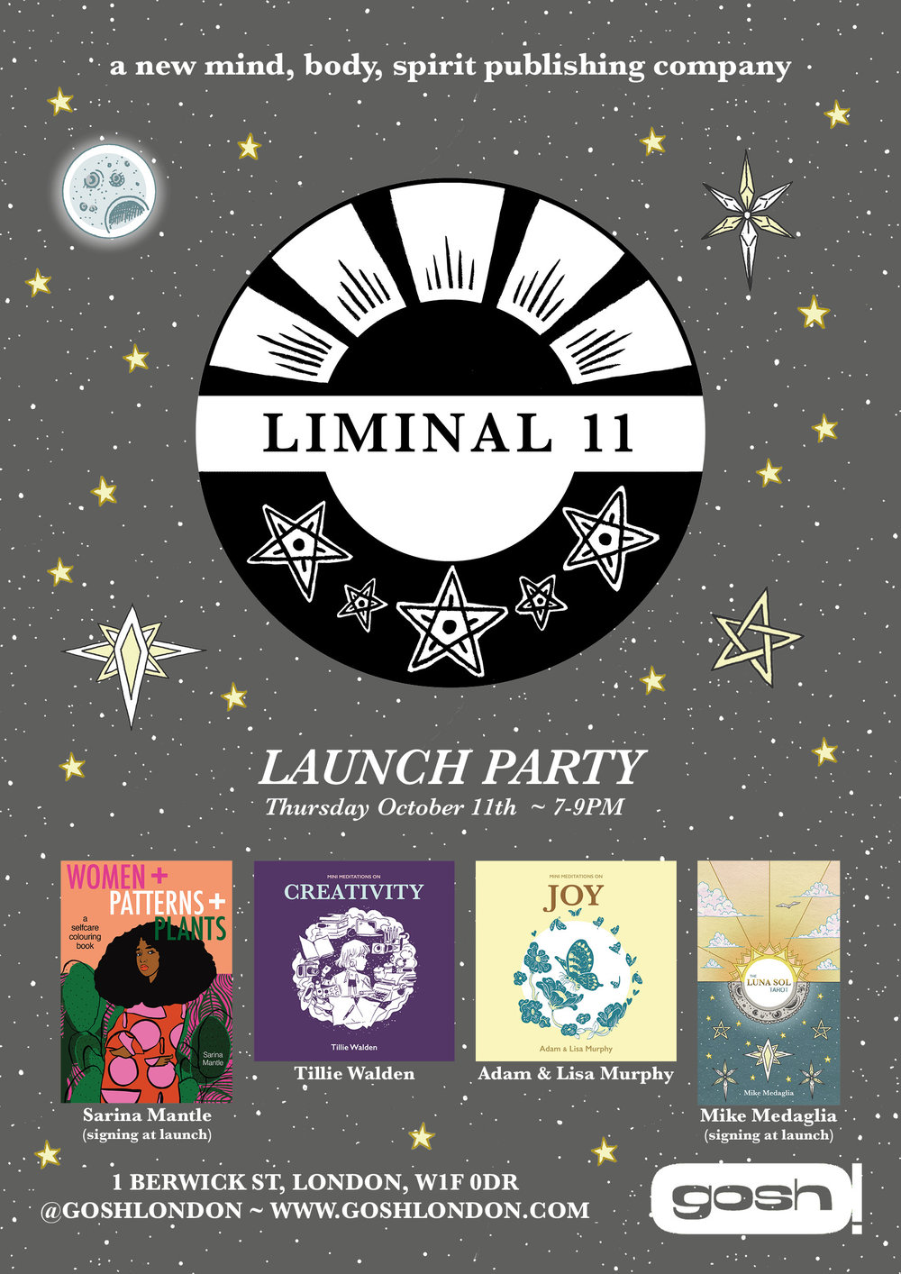 Come join me at my Publishers Liminal 11 Launch Party and get a signed copy of women + patterns + plants. I will be signing on the night alongside Publisher Mike Medaglia and his new Tarot Cards Luna Sol. There will be the first release of two new Mini meditation books Creativity and Joy by Tilly Walden and Adam & Lisa Murphy.  Liminall 11 is a brand new mind body soul publishing company and this night is set to be an incredible evening.... Come join us at ....  Gosh Comics: 1 berwick St, London, W1F 0DR, 7-9pm, October 11th 2018.