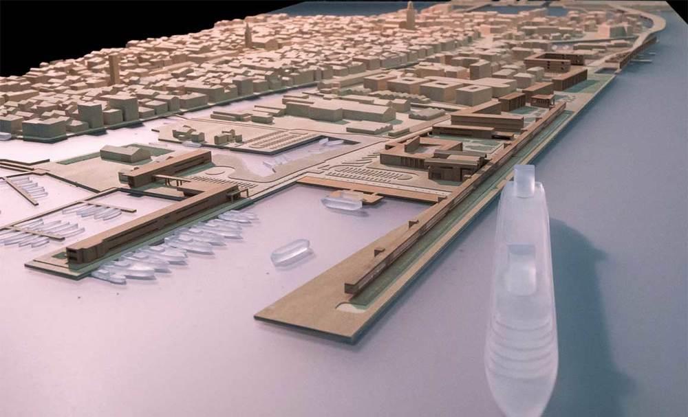 Modello fisico di Isola dei Saloni. Vista del punto terminale del Nuovo Porto crocieristico