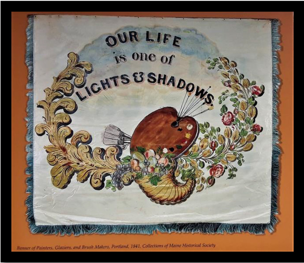 Maine trades banner of Artists, Painters and Glaziers, Collections of Maine Historical Society, courtesy of MaineMemory.net, item #36545