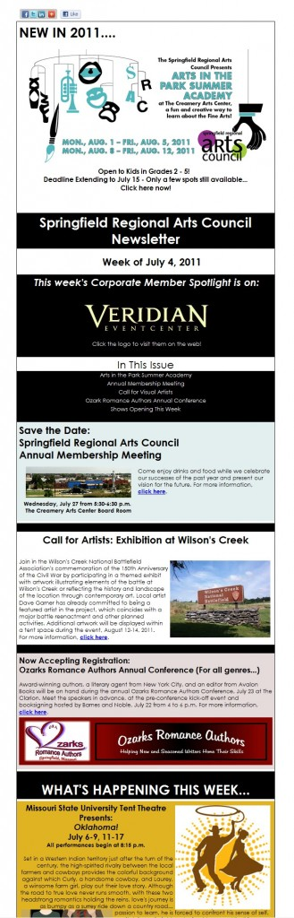 Springfield Regional Arts Council ezine