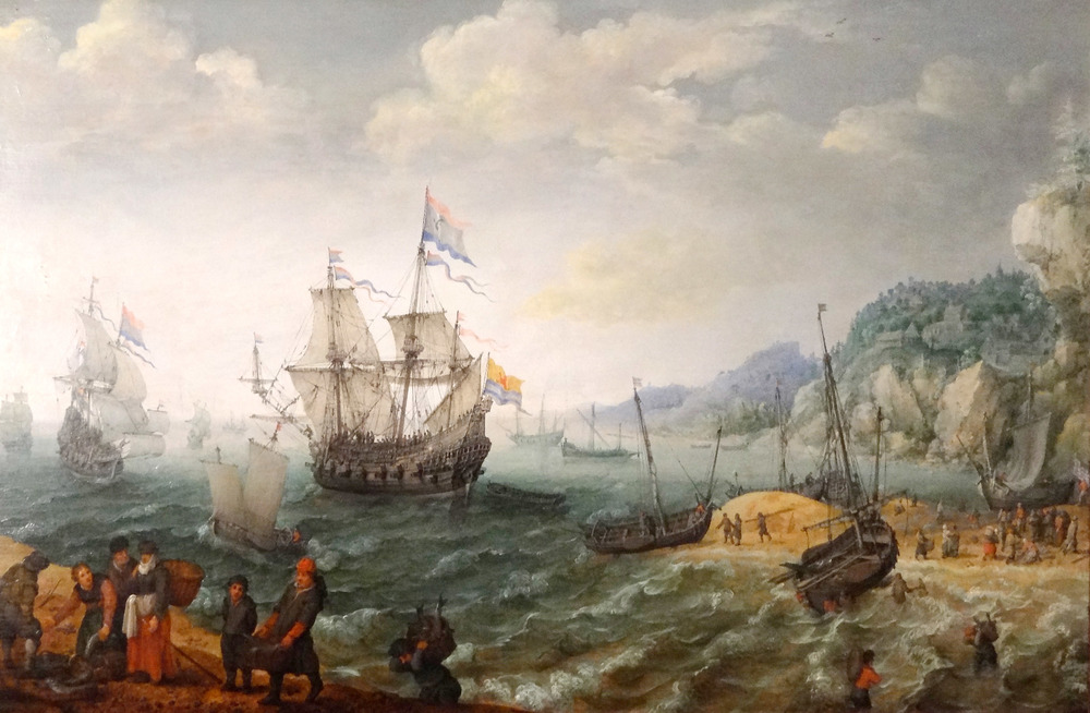 Dutch Men-of-War Ships off a Rocky Coast and Fishermen on the Beach with their Catch