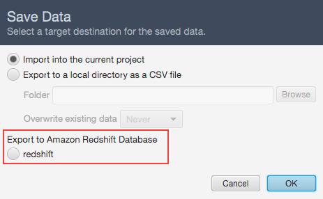 choose amazon redshift datasource