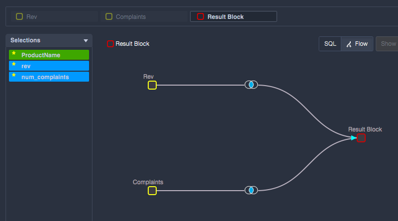 Data flow now shows an inner join between Temp Table Blocks and the Result Block.