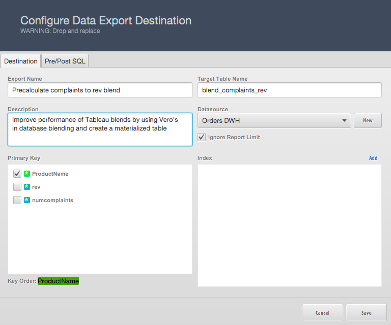 Vero's Table Export Configuration Window