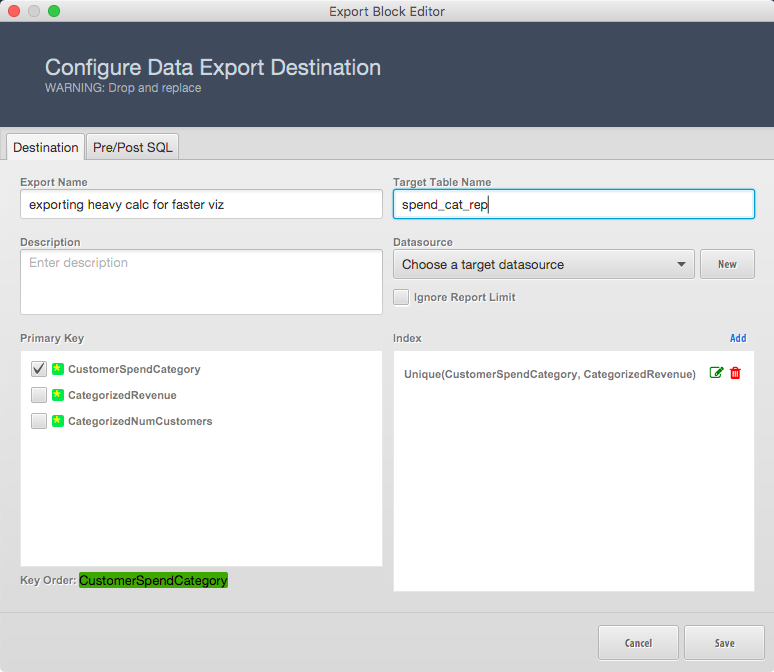 vero export table configuration