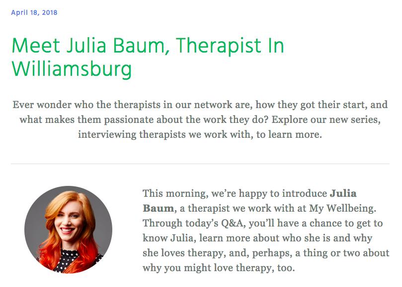 Julia Baum, LMHC - My Wellbeing Q&A