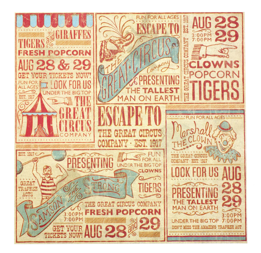Vintage Circus Scrapbook Paper