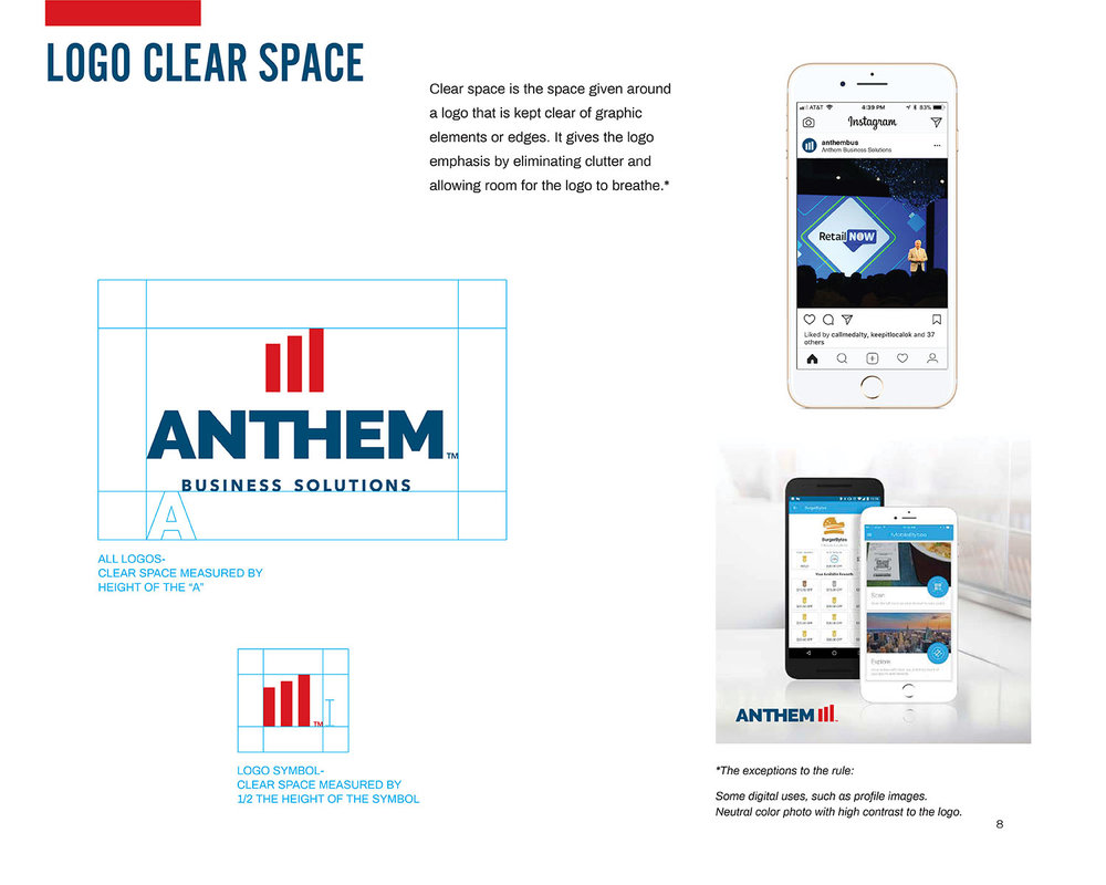 A page from a detailed brand style guide for Anthem Business Solutions.