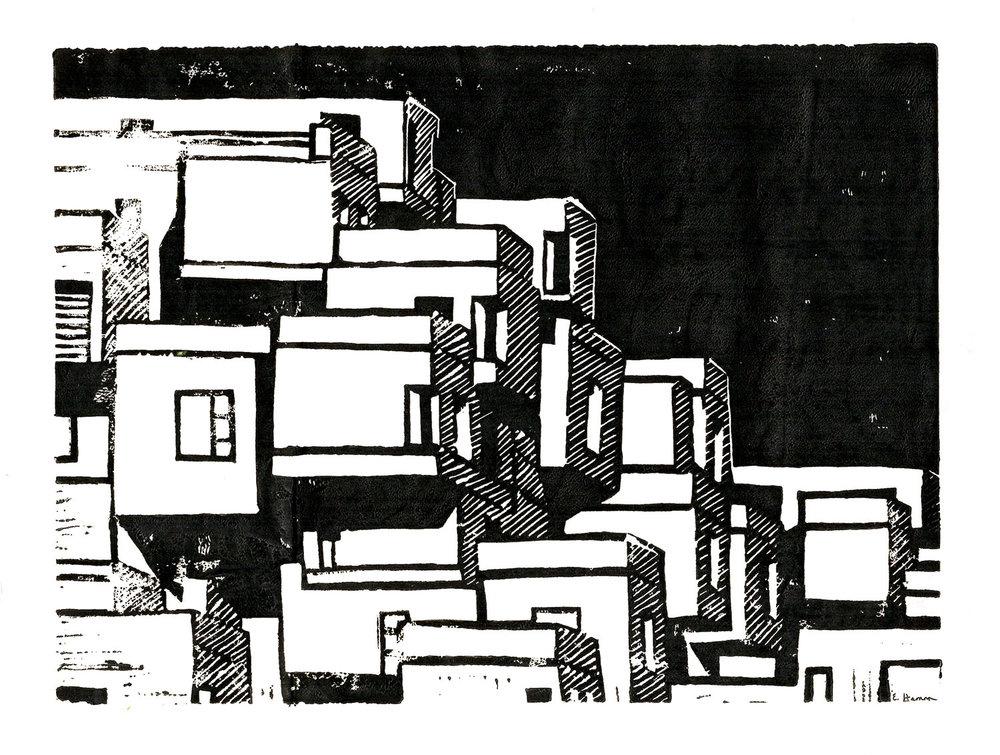 Cityscape Block Print