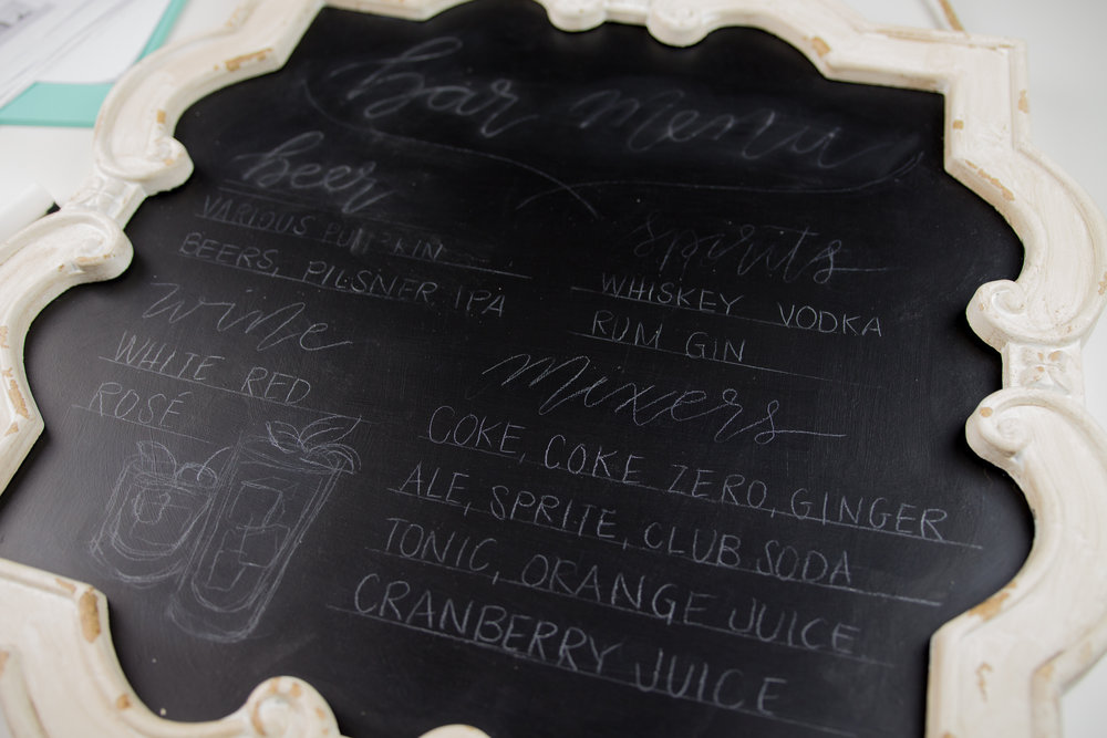 diy chalkboard bar menu for fall wedding