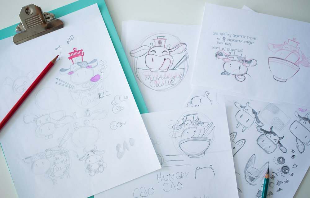 Sketches of cows and kawaii animals for logo design