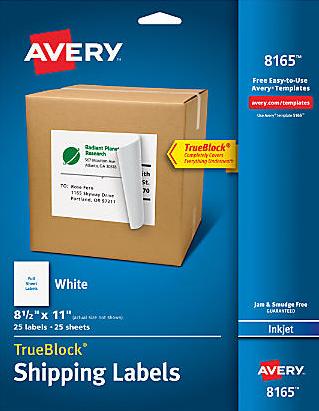 avery full sheet white label