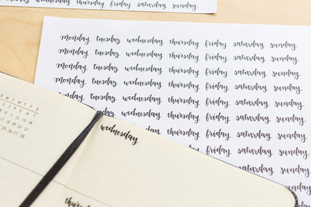 free printable weekday stickers for planners bullet journals