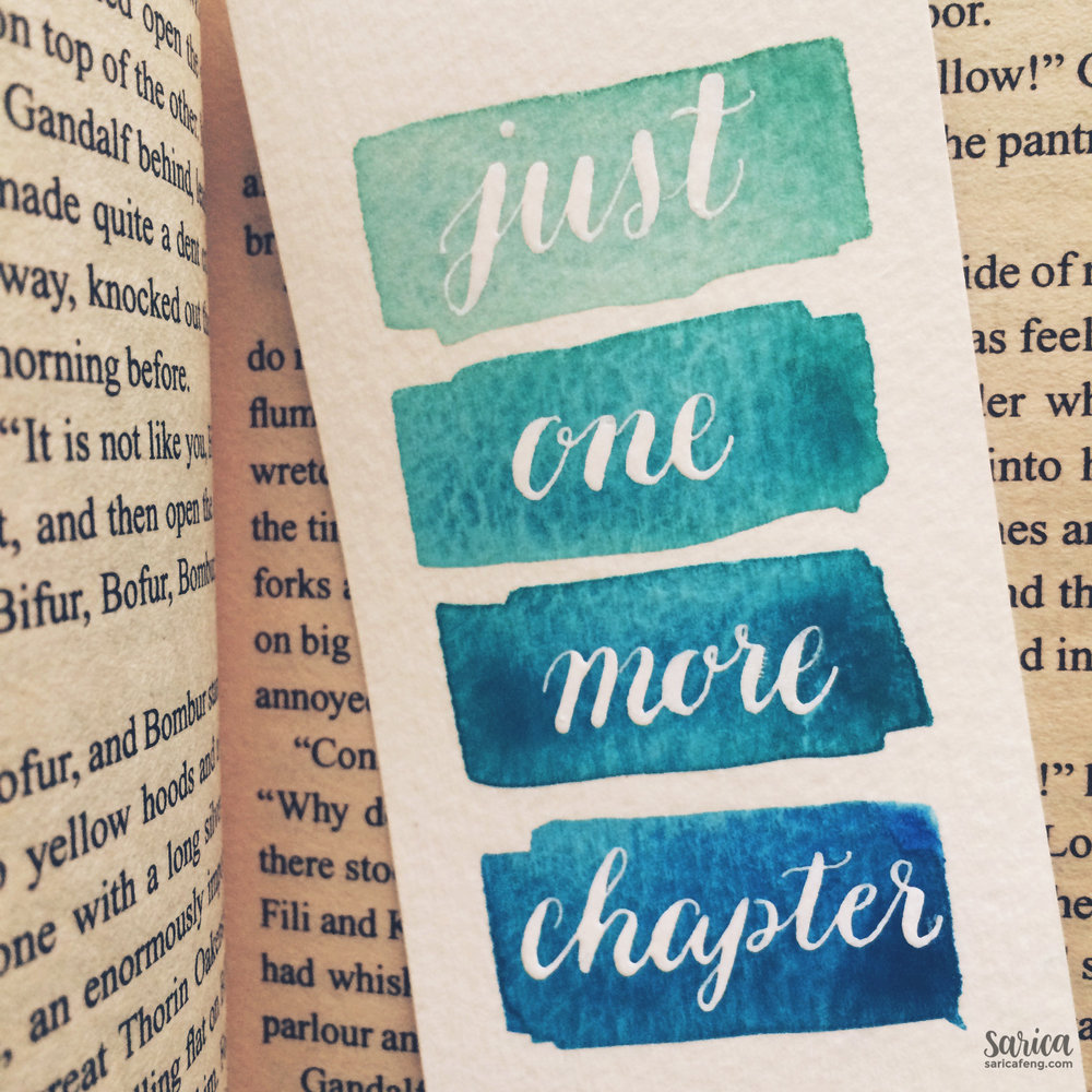 ombre watercolor calligraphy bookmark