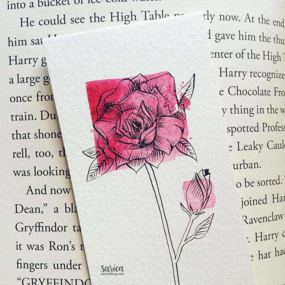 detailed rose bookmark