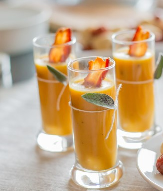 Almond Soup Shooters with Red Mojo