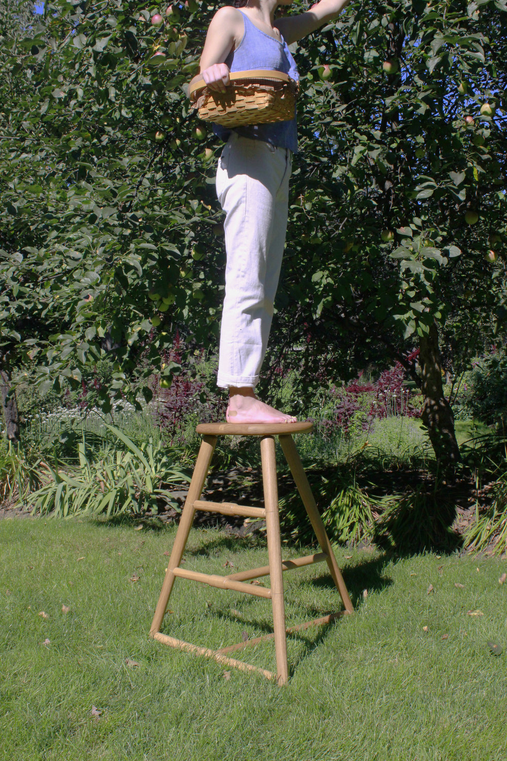 "Apple picking stool is intended for small scale or person apple orchard picking. The three feet of the stool anchor into the soil until the bottom T shaped stretcher is flush with the ground, allowing the stool to have greater stability.     Materials: White Oak  H 34"" x L 28"" x W 28"""