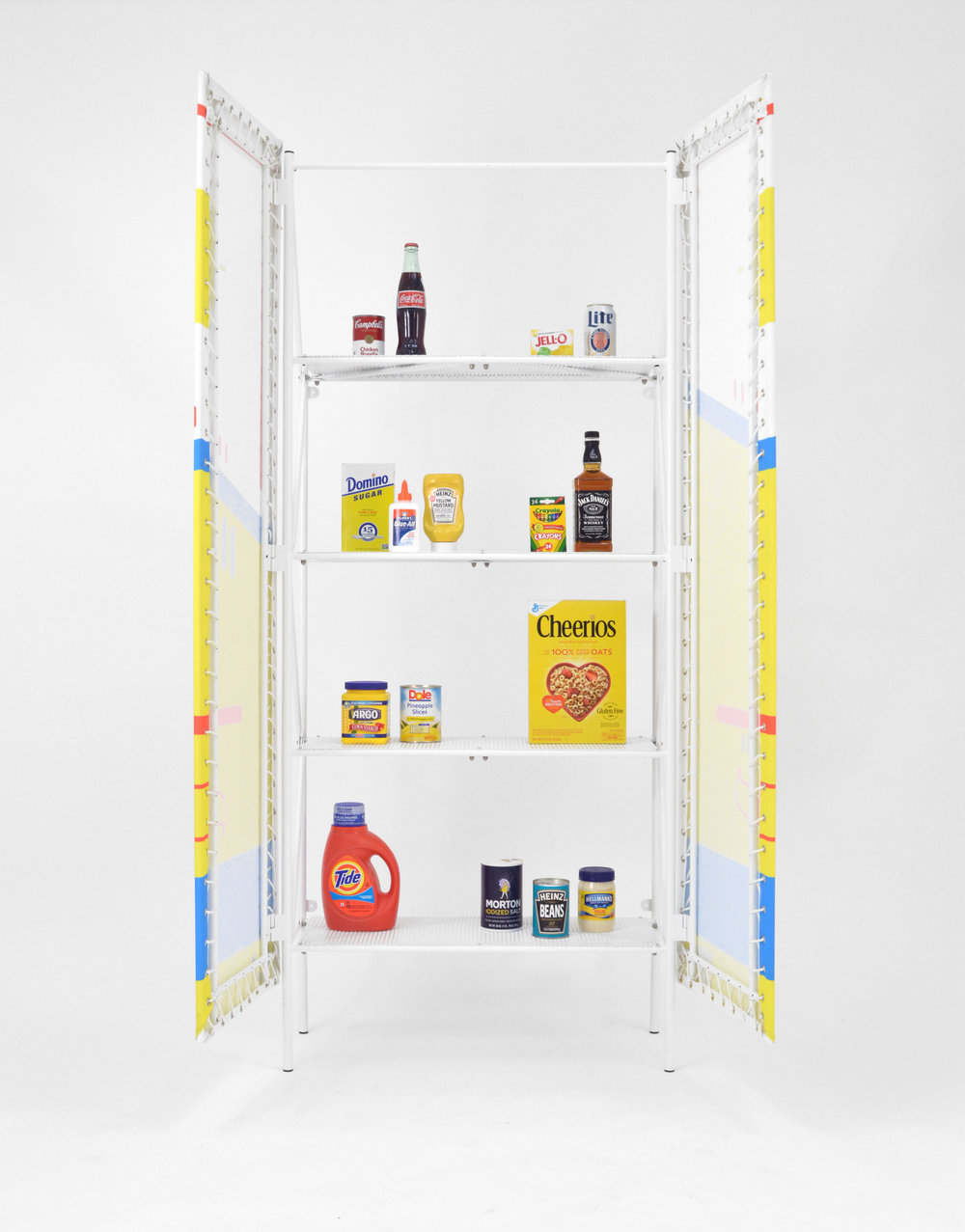 """Billboard Cabinet's intent is to reveal the hierarchy of 2D imagery over structural components found in signage. The structural and visual systems of the billboard: lattice structure, perforated steel, and digitally printed canvas were extracted and reorganized into a cabinet.  Billboard cabinet is a dramaticized example on how advertisements, signage, and branding infiltrate the privacy of the home.  Materials: Steel, nylon rope, digitally printed canvas  H 70"""" x L 36"""" x W 14"""""""