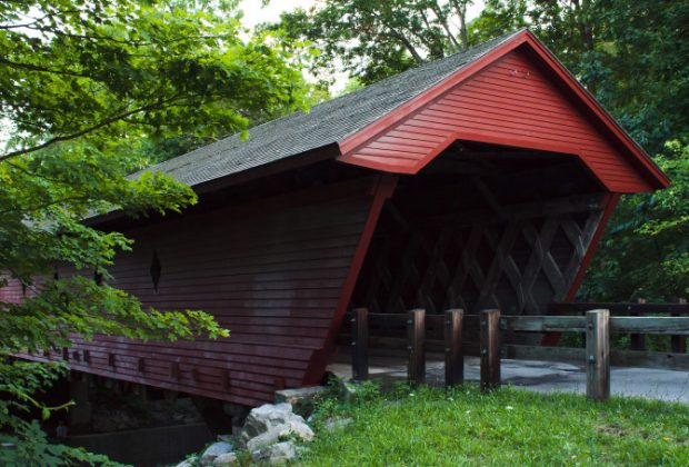 The Newfield Covered Bridge is NY's oldest covered bridge still in daily use
