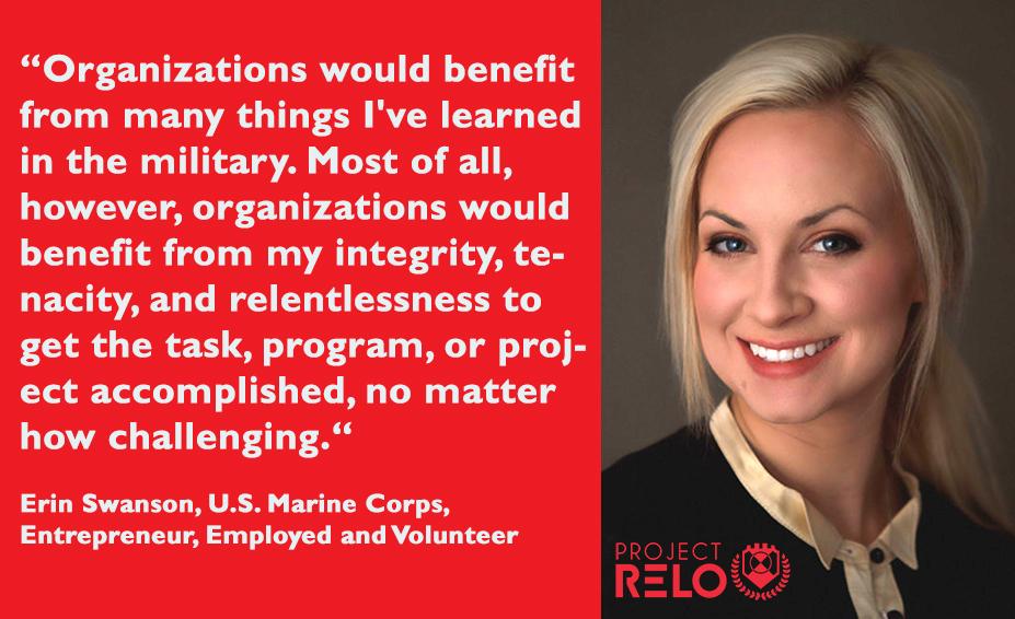 Erin Swanson, U.S. Marine Corps, Corporal, Employed & Entrepreneur