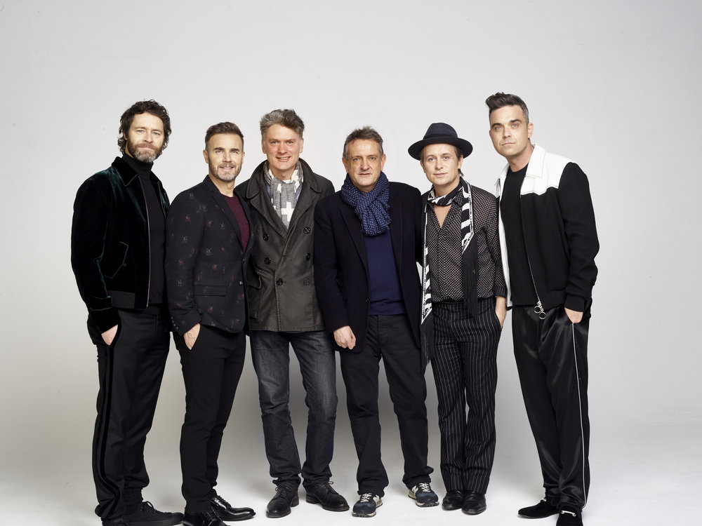 Pictured: Producers of The Band: Howard Donald, Gary Barlow, Dafydd Rogers, David Pugh, Mark Owen, Robbie Williams Credit Jay Brooks