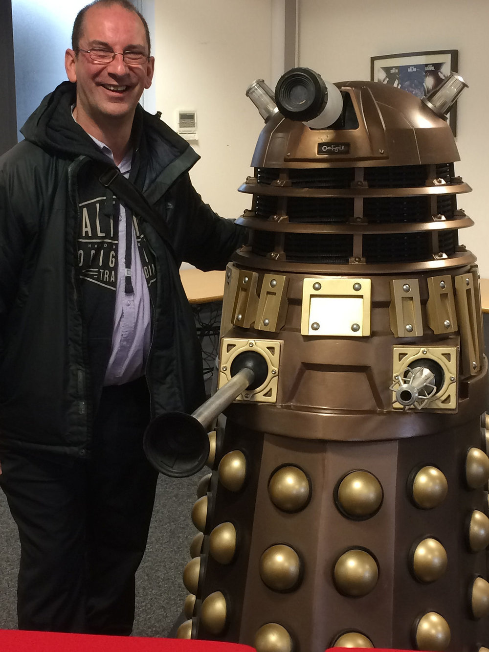 Andy Howells meets a Dalek at BBC Roath Lock studios, Cardiff