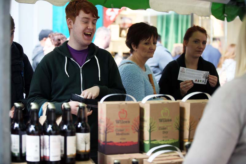 Customers at one of the may stalls from last years Tiny Rebel Newport Food And Drink Festival