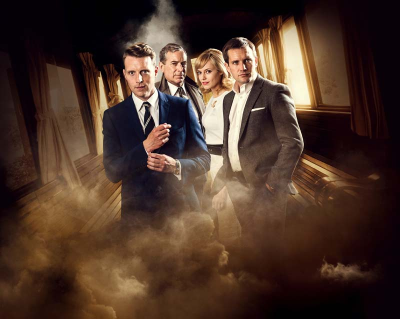 The cast of Strangers On a Train, John Middleton (Detective Arthur Gerard), Christopher Harper (Charles Bruno), Guy Haines (Jack Ashton) and Hannah Tointon (Anne Faulkner)