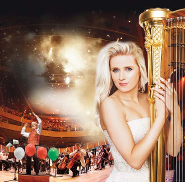 Harpist, Claire Jones joins the Royal Philharmonic Orchestra and Owain Arwel Hughes CBE for the  Last Night Of The Welsh Proms