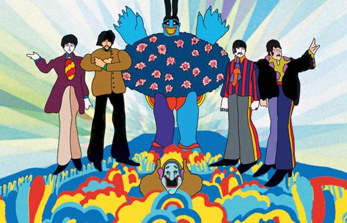 The Beatles as they appear in the 1968 animation, Yellow Submarine, which was screened by The Tramshed cinema in Cardiff as part of the film's 50th anniversary celebrations.