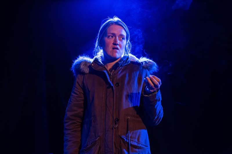 Jennifer Aries as Jo in Claire Erasmus play,  Flotsam  at The Kings Head Theatre, London Photograph by Stephanie Claire.