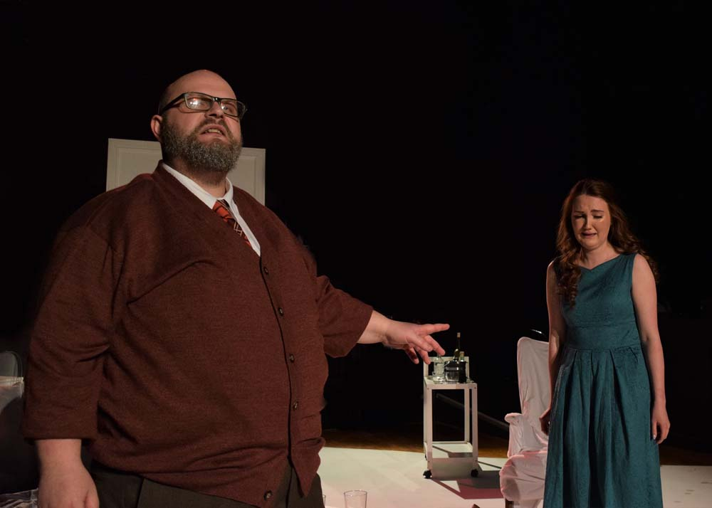 Molly Pugh and Andrew Pippen in Theatre aDHOC's presentation of  Who's Afraid of Virginia Woolf?  Photographs by Joe Marshall