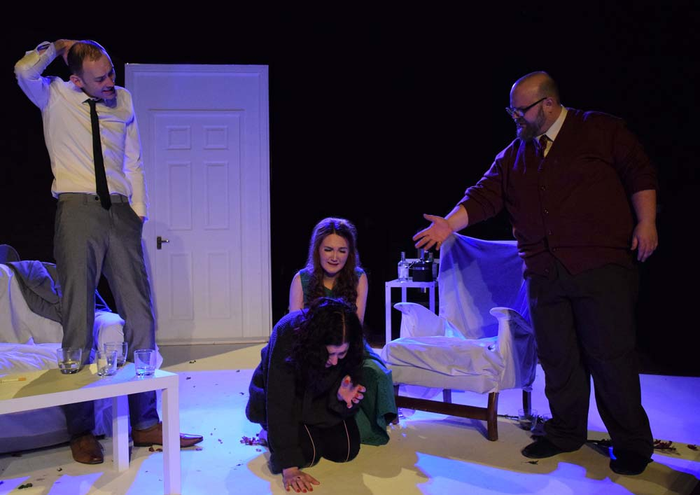 Daniel Sean, Julia Swain, Molly Pugh and Andrew Pippen in Theatre aDHOC's presentation of  Who's Afraid of Virginia Woolf?  Photographs by Joe Marshall