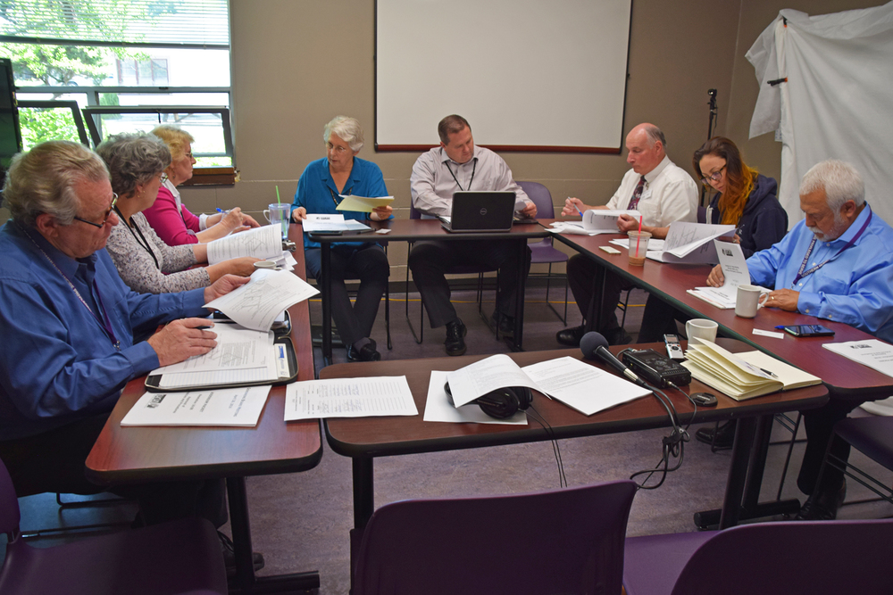 The Southern Humboldt Community Healthcare District board meeting was attended by, from left, board members Gary Wellborn and Corinne Stromstad, administrative assistant Susan Gardner, board president Barbara Truitt, district CEO Matt Rees, district CFO Paul Eves, and board members Alison Rivas and David Ordoñez.