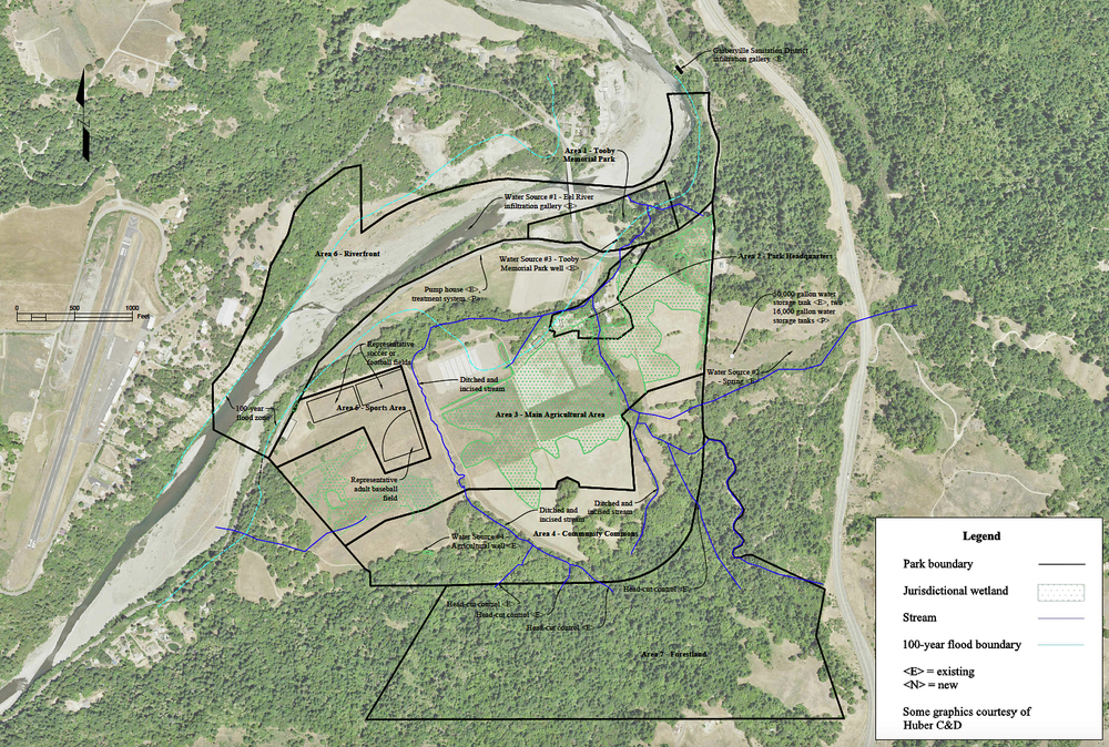 "A site plan for a Southern Humboldt Community Park hydrologic study. The bulk of the water that would be used for the proposed athletic fields during the dry portion of the year would be drawn from ""Water Source #1, the Eel River infiltration gallery."" (Brad Job, Pacific Watershed Associates)"