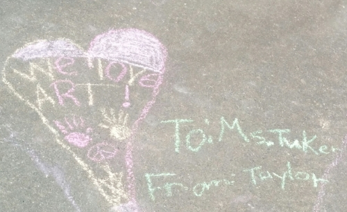 Chalk art from a group of very creative girls