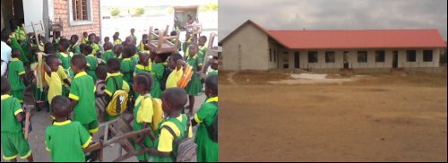 School children at Kivinje and classrooms under construction ~ Kenya