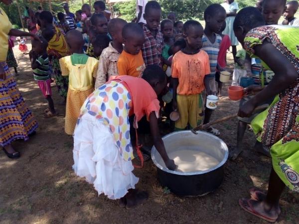 Sunday School Children Served Porridge After Class - Kenya
