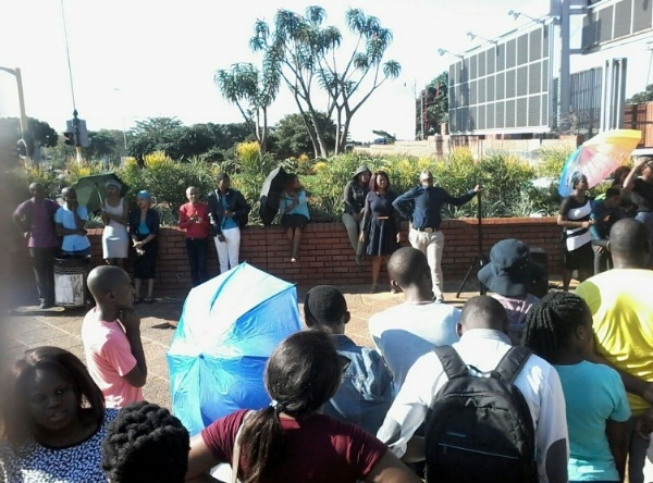 Students Sharing the Good News at the University Main Gate – South Africa