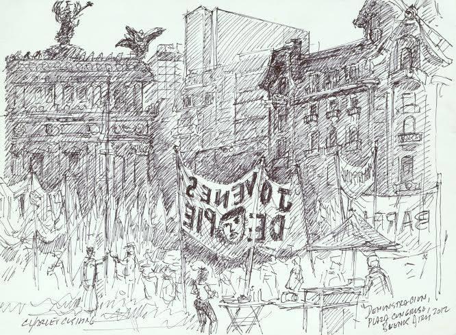 """Demonstration, Plaza Congreso""  $300.00 (framed)"