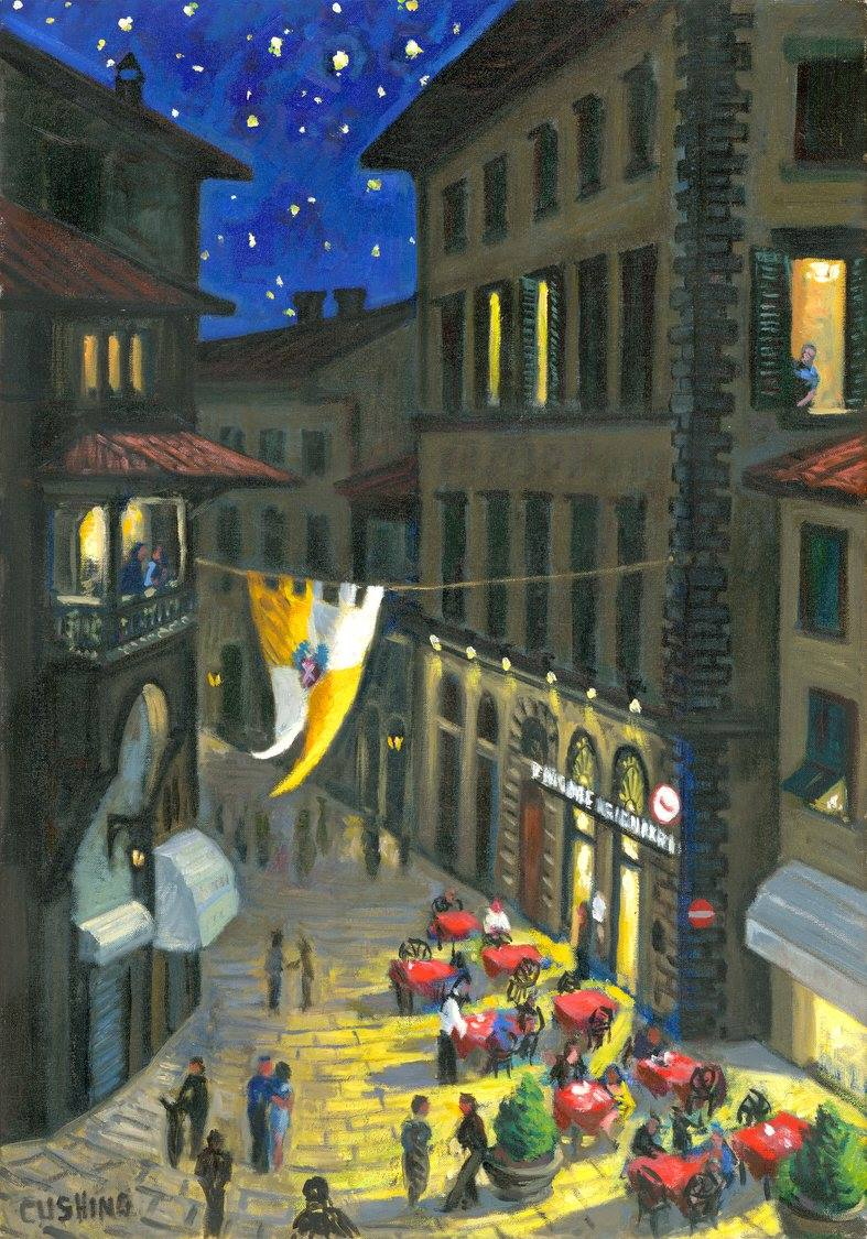 """A Night Cafe""  27 x 19"" (sold)"