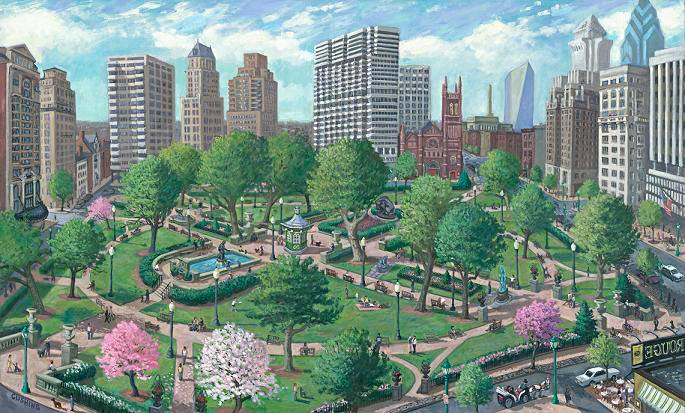 """Rittenhouse Square""  28 x 40"" (sold)"