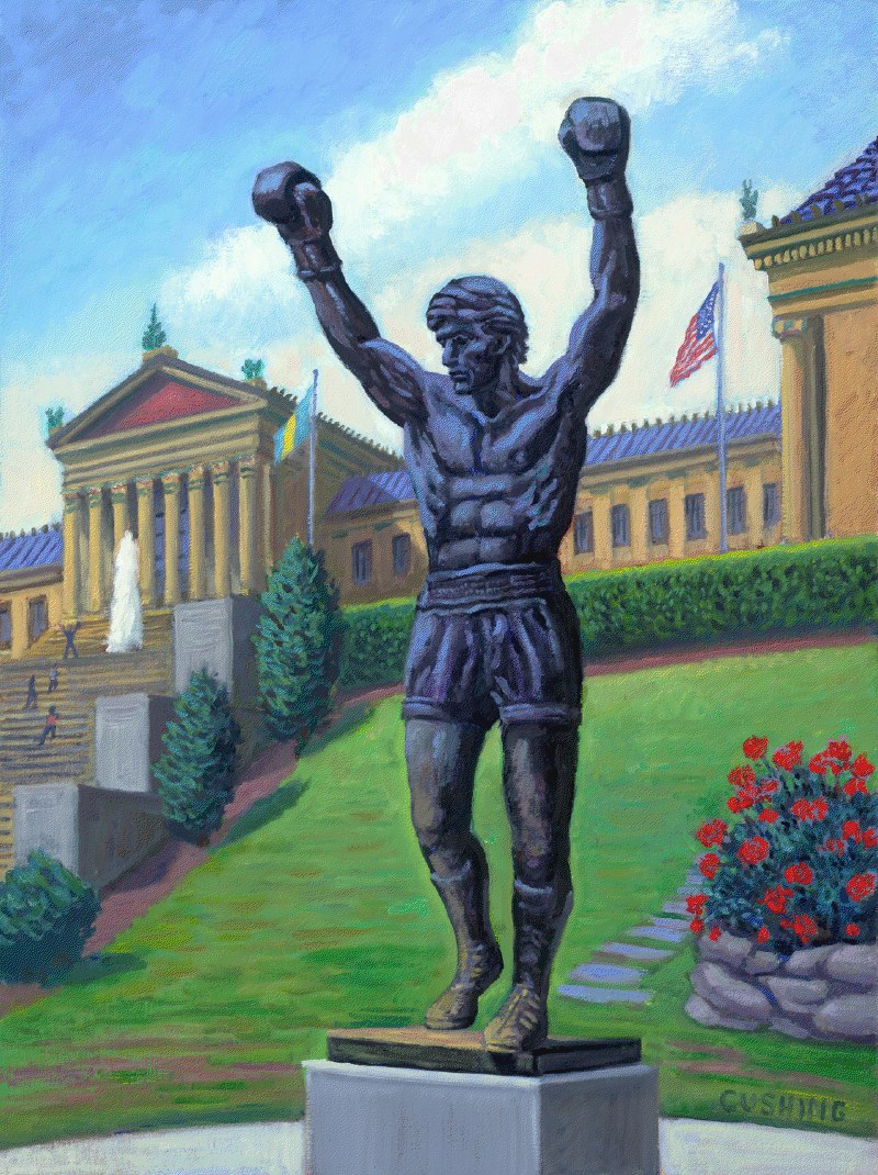 """""""The Rocky Statue""""  24 x 18"""" (sold)"""