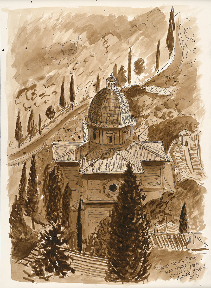 """""""Vasari's Church"""" (sepia ink wash) 19 x 13"""" $500.00, matted and framed"""