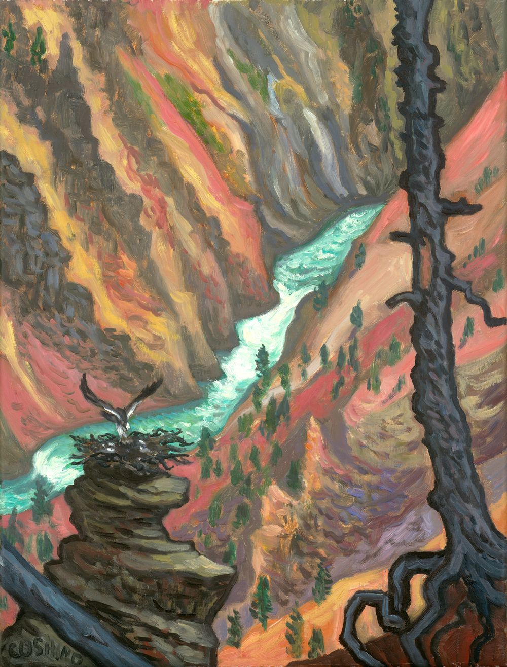 """Ospreys, Yellowstone Canyon"" 27 x 17"" (sold)"
