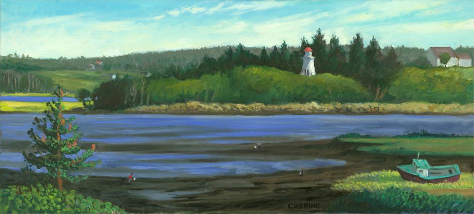 """Lighthouse, Pubnico, Nova Scotia""  18 x 48""  (sold)"