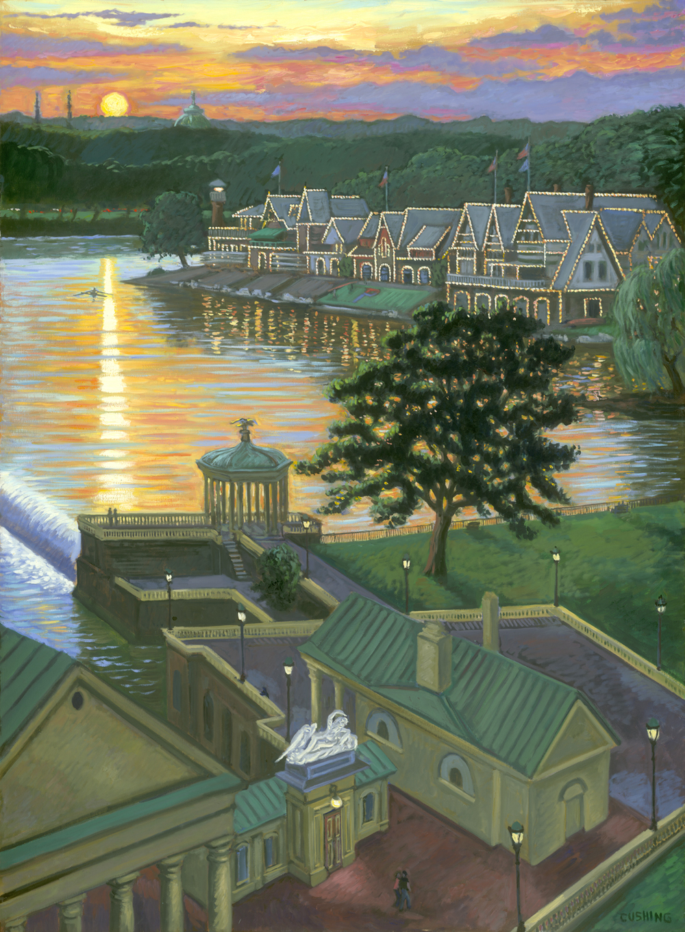 """Sunset, Boathouse Row"" 60 x 36"" (sold)"