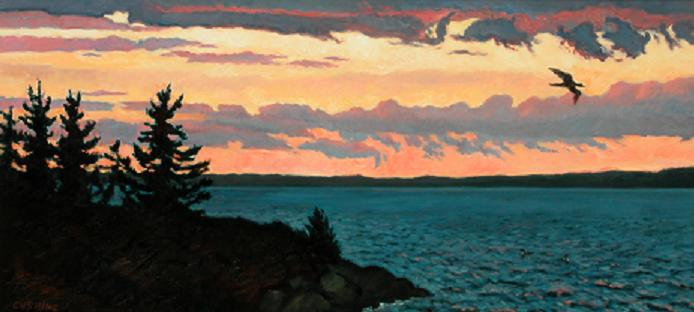 """Loons, Mahone Bay, Nova Scotia""  24 x 60""  (sold)"