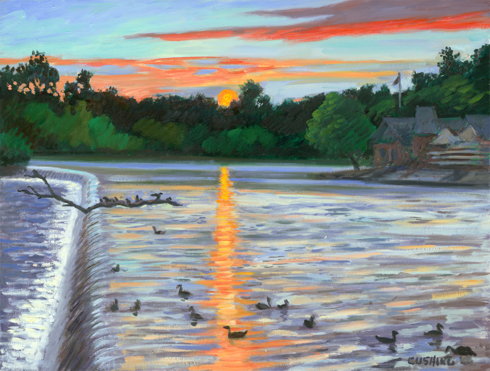 """Schuylkill River Sunset""  24 x 30"" (sold)"
