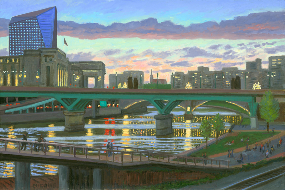 """Schuylkill Bridges and Lights""  20 x 30"""